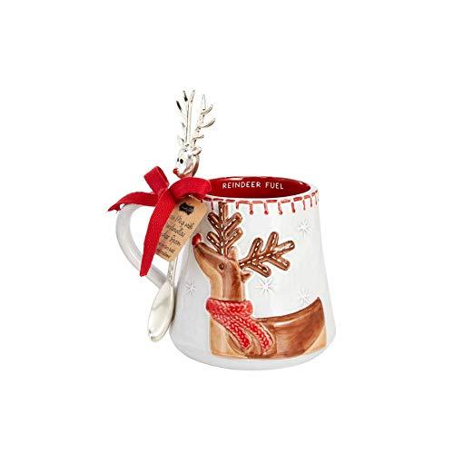 Mud Pie REINDEER COCOA MUG SET, mug 12 oz | spoon 6'