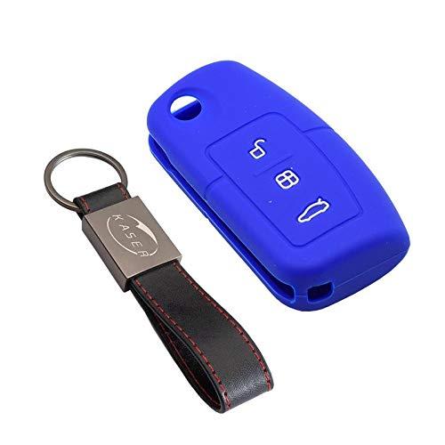 kaser Funda Silicona para Ford – Carcasa Llaveros 3 Botones para Coche Fiesta Focus Galaxy Fusion S-MAX Kuga Ecosport Cover Case Protección Remoto Mando Auto (Azul)