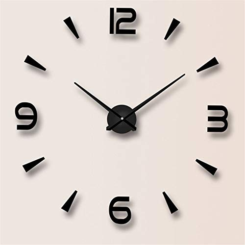 Acryl Spiegel Digitale Wanduhr 3D Stereo Mode Einfache Wandaufkleber Uhr (Color : Black)