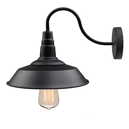 LNC Industriell Wandleuchte Schirm, Metall, 10 Inch, Schwarz (Leuchtmittel nicht im Lieferumfang)