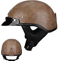 男性女性のためのレトロなオートバイハーフヘルメット大人のバイクオープンフェイスヘルメットDOT承認されたバイククルーザーモペットスクーター用スカルキャップ野球帽 1,XL=60-61CM