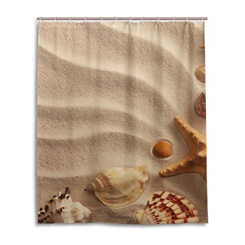 ISAOA Duschvorhang, Wasser- & schimmelresistent, mit Muscheln & Sandfarben, Waschbar, mit Haken für Badezimmerzubehör, 150 x 180 cm