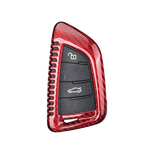 Piezas de Coches para BMW 1 3 5 7 Series X1 X3 X4 X5 X6 M3 M5 F20 F30 F10 E90 E60 E30 E46 E34 E70 Cubierta Protectora De Llave De Fibra De Carbono Real para Coche Decoración (Color : B-Red)