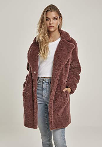 Urban Classics Damen Ladies Oversized Sherpa Coat Mantel, Rosa (Darkrose 01472), Small (Herstellergröße: S)