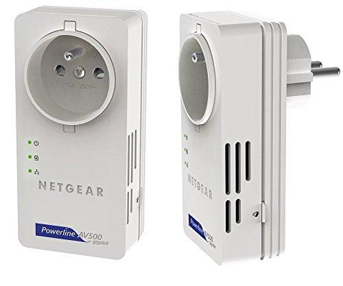 NETGEAR XAVB5601-100PESPowerline-Netzwerkadapter (500Mbps über Stromleitung, integrierte Steckdose Gigabit LAN)