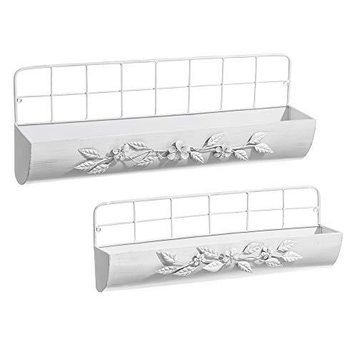 Set de 2 estantes de Pared de Metal Blancos Shabby Chic - LO