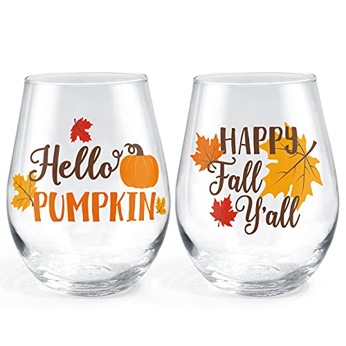 Fall Stemless Wine Glasses Happy Fall Y'all Hello Pumpkin Wine Glasses Housewarming Birthday Christmas Holiday Gifts Funny Thanksgiving Seasonal Kitchen Decor Wine Tasting Party Supplies Set of 2