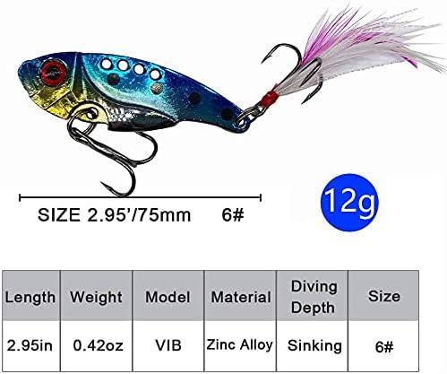 5pcs VIB Fishing Lure 2.5g//29.3mm Metal Hard Bass Bait Gold//Silver