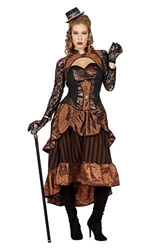 Steampunk Victoria Damen Kostüm Kleid Burning Man viktorianisch Industrial, Größe:46