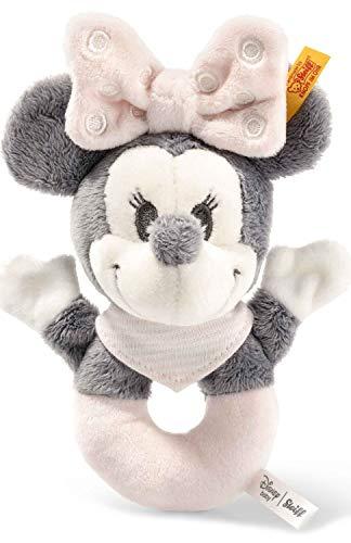 Steiff Disney Minnie Mouse Greifring mit Rassel - 13 cm - Kuscheltier für Babys - weich & waschbar - grau/rosa/weiß (290060)