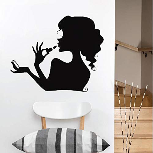 yaonuli Mädchen Make-up Silhouette Wandtattoo Schlafzimmer Home Decoration Vinyl Wandaufkleber abnehmbar 64X73cm