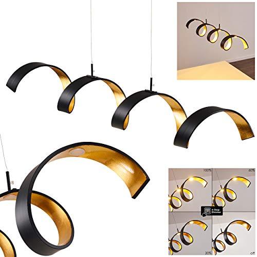 LED Pendelleuchte Rezat, dimmbare Hängelampe aus Metall in Schwarz/Gold, längliche Hängeleuchte, Höhe max. 120 cm, 20 Watt, 1200 Lumen, Lichtfarbe 3000 Kelvin (warmweiß)