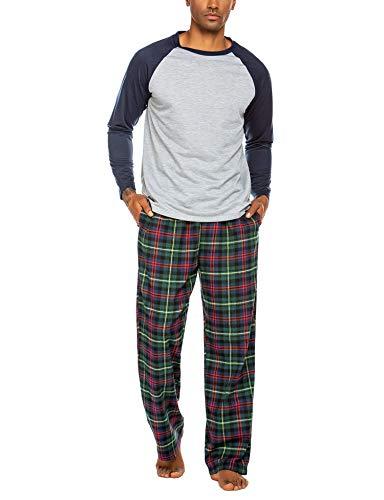 ADOME Herren Schlafanzug Lang Zweiteiliger Weicher Warmer Pyjama Set Rundhals T-Shirt und Karierte Hose, Dunkelblau, Size l