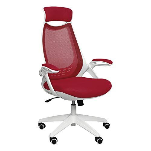 CashOffice - Silla de Escritorio Ergonómica Transpirable - Silla de Oficina con Reposabrazos Abatibles (Rojo)