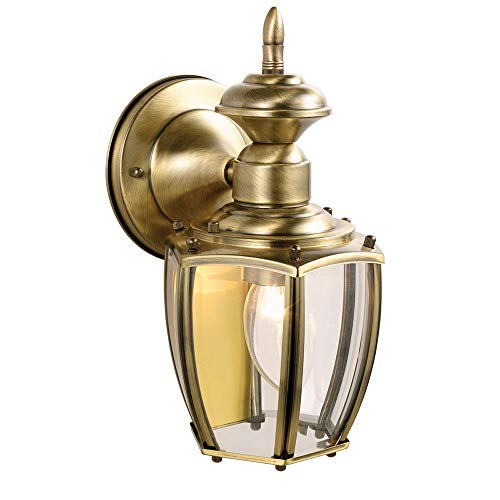 Design House 501478 Jackson 1 Light Indoor/Outdoor Wall Light, Antique Brass