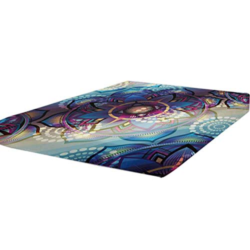 LCGGDB Lotus Fitted Sheet Twin XL Size,Gradient Diagonal Mystic Symbols Geometric Alchemy Trippy Motif with Ornaments Soft Brushed Microfiber - Deep Pockets,1 Bed Fitted Sheet Only,Multicolor