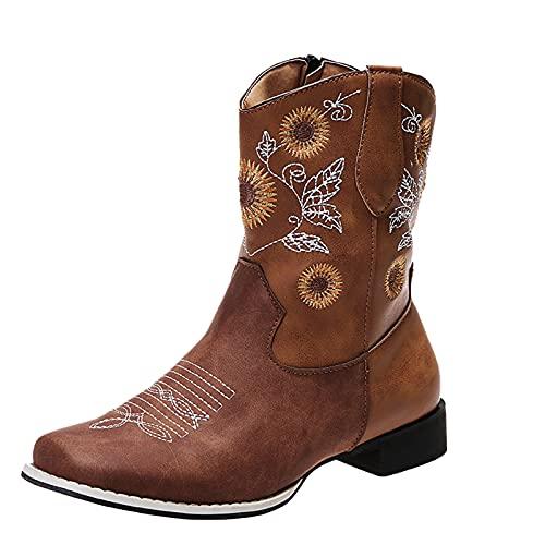 Botines planos para mujer, botines de vaquero, ligeramente forrados, con tacón de embudo, bordados, con cremallera cuadrada, cómodos botines para otoño e invierno