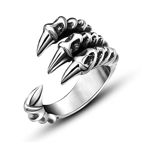 Punk Rock Edelstahl Herren Biker Ringe Vintage Gothic Schmuck Silberfarbener Drachenklaue Ring Herren9