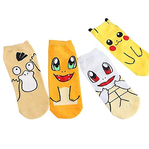 ZHANGNUO 4 Pares De Calcetines De Dibujos Animados Lindos Calcetines De Dibujos Animados De Pokemon Pikachu Calcetines De Algodón Puro para Mujer 4 Pares/4 Surtidos