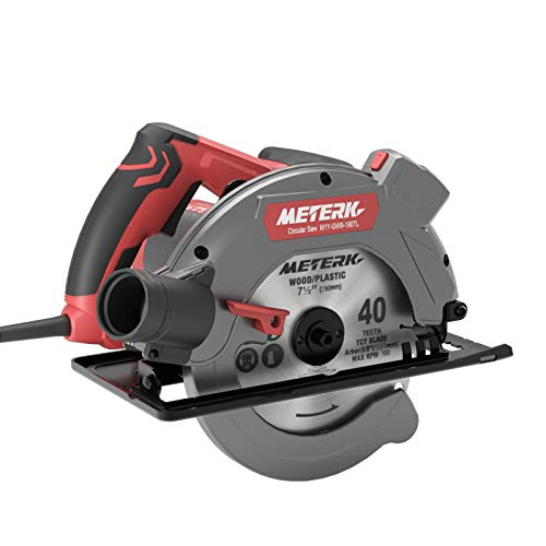 "Circular Saw, METERK 1500W Circular Saw with Laser Guide/Scale Ruler, 2 Blades(7-1/2""), Adapt 7-1/4"", 5000 RPM, 0-45° Bevel Adjustment, Max Cutting Depth 2-5/8''(90°) & 1-7/10''(45°)"