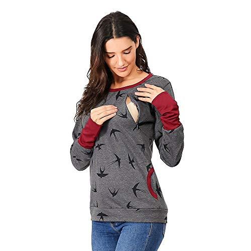 Riou Umstandsmode Damen Pullover Winter Warm Baumwolle Langarm Drucken Zweilagiges Stillen Hoodie Sweatshirt mit Taschen für Schwangerschaft Basic Stillzeit Stillpullover