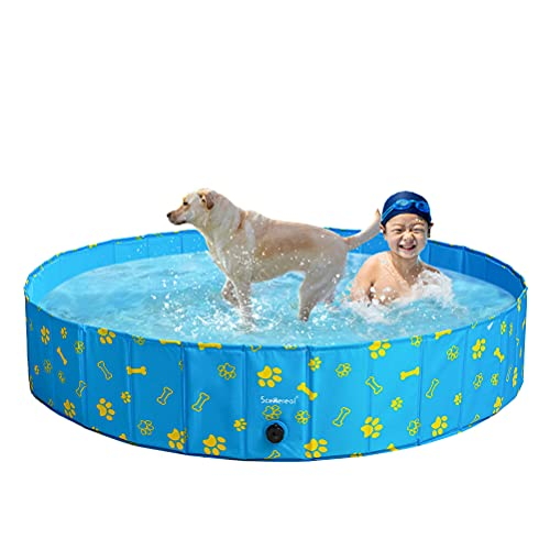 SCENEREAL Swimming Pool for Dogs Kids Toddlers - Large Foldable Pet Pool Bathing Tub with Paw Printing Outdoor Bathtub Collapsible for Small Medium Large Dogs Puppies