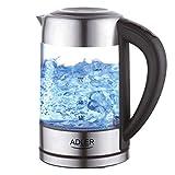 ADLER AD 1247 Wasserkocher aus Edelstahl und Glas, 1,7L, 2200 W, digitaler Glaswasserkocher mit...