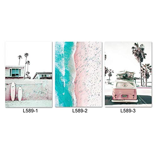 Surf Poster Beach Wall Art Canvas Painting Pink Surfboard Print California Modern Coastal Decor Wall Pictures for Living Room 50x70cmx3- sin Marco