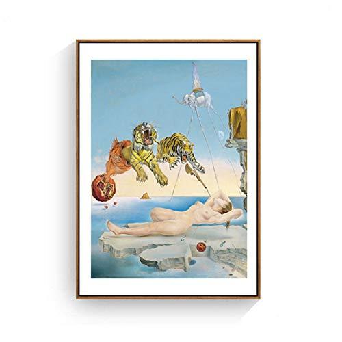 A&D Salvador Dali Tiger Elefant Mädchen Leinwand Malerei Surrealismus Abstrakte Kunst Wandbilder Drucken Für Wohnzimmer-60x80 cm Kein Rahmen