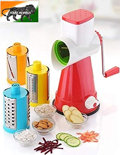 HBMALLINDIA Premium Plastic Grater, Shredder Dicer and Slicer Chopper for Kitchen, Food Processor Manual 4 in 1 Rotary Cutter; Vegetable Choppers for Kitchen