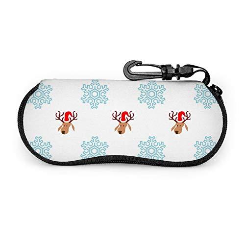 Juego de protectores de gafas de Navidad de papel de regalo portátil con cremallera de viaje suave de neopreno para gafas con cremallera y gancho para cinturón antirrobo