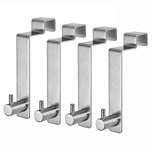 Türhaken für die Rückseit 4 Stück, LYLIN Kleiderhaken über Tür Innenseite - Türgarderobe Edelstahl Handtuchhalter Ohne Bohren (Silber)