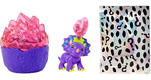 Cave Club Cristal con 4 sorpresas, incluye dinosaurio bebé, juguete para niñas y niños +4 años (Mattel GVR69)