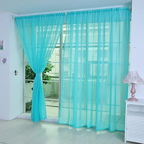 """1Piece 39.37"""" x 78.74"""" Pure Color Sheer Panel Light Filtering Tulle Door Window Curtain Drape Panel Sheer Scarf Valances DIY Clothes Cosplay Scence (Blue)"""