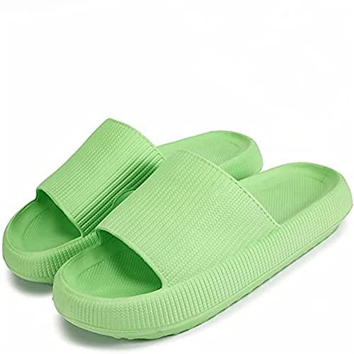 Zapatillas de diapositivas de almohada, plato de espuma de masaje antideslizante secado rápido de punta abierta Super suave suave sandalias de sandalias para mujer y hombres EVA Plataforma zapatillas