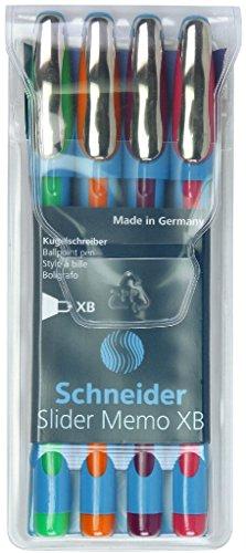 Schneider Slider Memo XB Ballpoint Pen, Pack of 4, Green/Orange/Purple/Pink (150295)