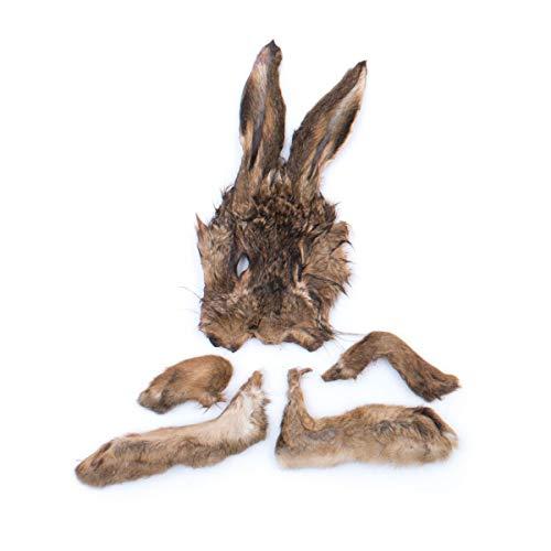 Grobys Futterkiste Hasenmaske mit Fell inkl Ohren und Pfoten (Läufen) getrocknet für Hunde, Verpackungseinheit Stück:1 Stück