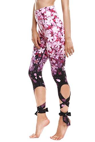 JORYEE Women's Sakura Floral Pattern Bandage High Waist Workout Yoga Legging Tight with Tie S Pink