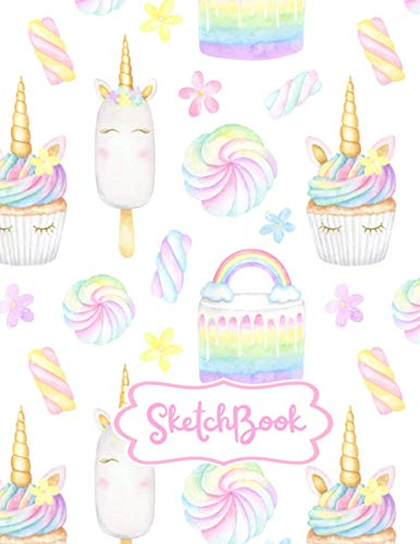 Sketchbook:: A Magical Unicorn Sketch Book for fans of Ice Cream, Cupcakes, Doodles and Rainbows, For Sketching, Drawing & Crayon Coloring (Kids Drawing Books)