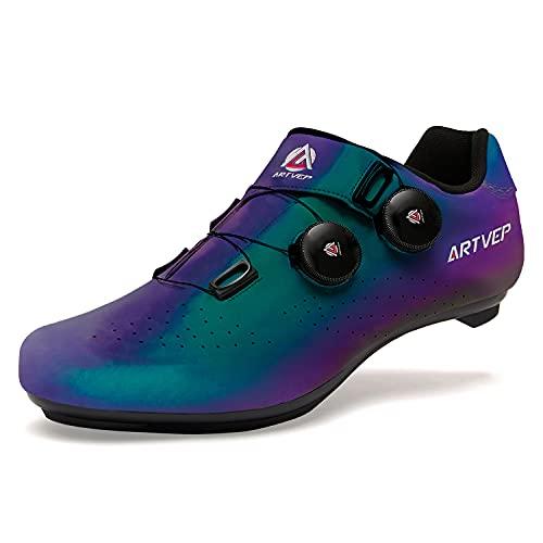 Zapatillas de Ciclismo para Hombre Zapatillas de Bicicleta de Carretera para Mujer compatibles con Look SPD SPD-SL Delta Cleats Zapatillas de Spinning para Interiores Exteriores Vistoso255