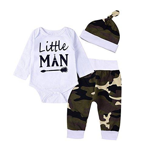 3pcs Neonato Unisex Pagliaccetto, Bambino Lettera Body Tutine + Baby Camo Pantaloni + Cappello Costume Set (Bianco, 3 Mesi)