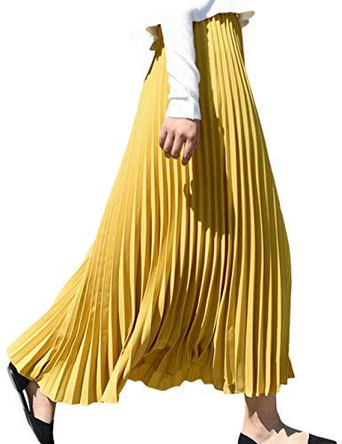 SOMTHRON Damen Casual Knöchellänge A-Linie Plisseerock mit Falten Herbst 10 Farben(YE)