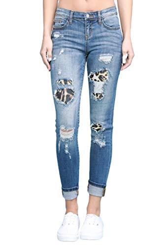 Judy Blue Womens Leopard Patch Skinny Jeans (5) (Style: 8265) Blue
