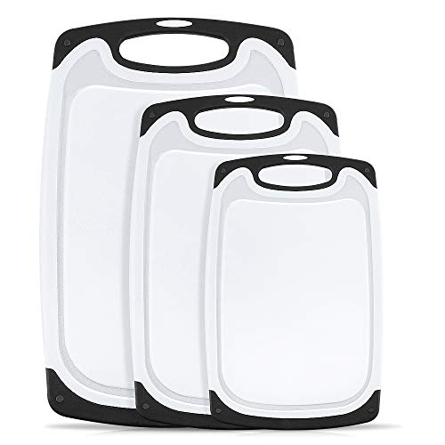 Plastic Cutting Board,oobest 3 Piece Chopping Board Plastic Cutting Board Set with Non-Slip Feet and Deep Drip Juice Groove -Dishwasher safe -Decorated your kitchen(Black)
