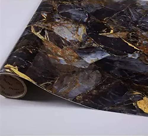 Yancorp 16'x120' Dark Blue Black Marble Paper Removable Wallpaper Film Self-Adhesive Granite Kitchen Peel Stick Backsplash Tile Countertop Shelf Liner (16'x120')