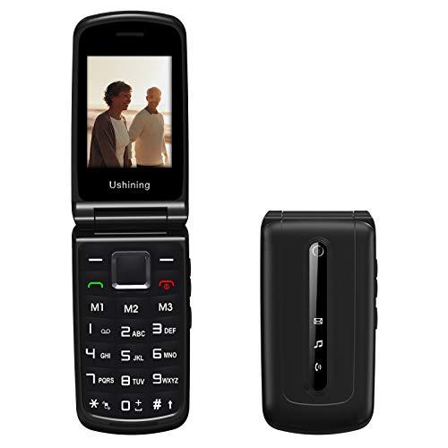 Ushining Teléfono móvil plegable 3G para personas mayores, sin contrato, teclas grandes, con botón de emergencia, doble SIM, cámara, radio FM, pantalla a color de 2,4 pulgadas, color negro