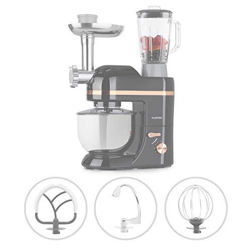 Klarstein Lucia Elegance - Robot de cocina multifunción, Potencia 1300 W, Recipiente de acero inoxidable con 5 L de capacidad, 6 niveles, 3 accesorios de mezcla, Protector contra salpicaduras, Carbón