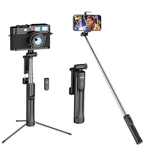 Palo Selfie Trípode, Mpow Selfie Stick 4 en 1 con Control Remoto Bluetooth, Calidad Aluminio, para Cámara Deportiva, para Viaje Rotación de 270° Compatible con Phone 11 Pro MAX / 11 Pro/XS MAX /