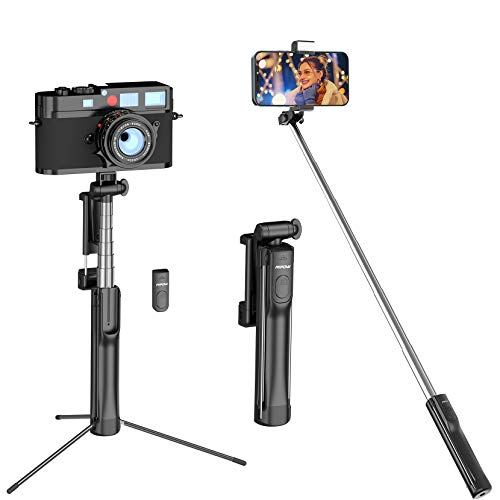 Selfie Stick, Mpow Pocket Tripod Selfie Stick Tripod Stand with Light and Extendable Wireless Remote for All Cell Phones and Action Cameras, Mini Cameras, Extendable Min Size and Handy, Dark Gray
