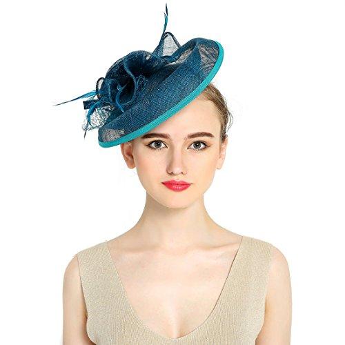 KAXIDY KAXIDY Damen Hochzeit Hut Damen Hochzeit Haar Clip Hut Haarschmuck Blumen Fascinator Stirnband (Blau Grün)